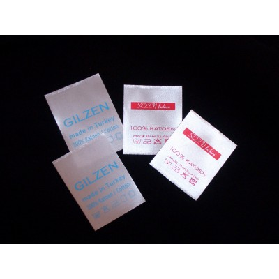 Satin sewing label white 30x40 mm