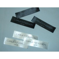 Satijn innaai labels Zwart 60x20 mm