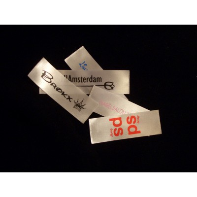 Satin sewing label white from 20x75 mm